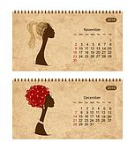 Calendar 2014 with female profile on grunge paper. November and december