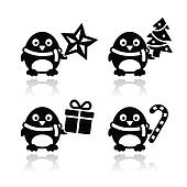 Christmas cute penguin vector icons