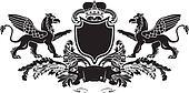 Heraldic Double Griffin Shield