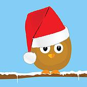 funny animal with christmas hat art vector illustration