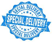 special delivery blue grunge stamp