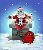 Santa Claus sitting on the roof