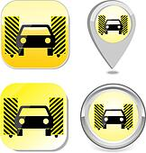 Car wash icon button sticker point