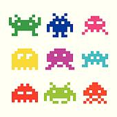 Space invaders, 8bit aliens icons