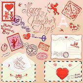 Collection of love mail design elements - stamps, envelops, postcard - Valentine`s Day or Wedding postage set.