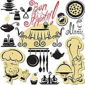 Set of cooking symbols, hand drawn pictures - food and chief sil