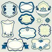 Set of design elements - marine themes frames, badges and labels