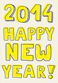 Happy New Year 2014 hand drawn wish
