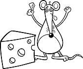 mouse with cheese coloring page