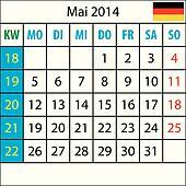 Mondkalender, Mai 2014, Deutsch, mit Zahl der Woche