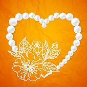 Pearl necklace and a heart-shaped cherry