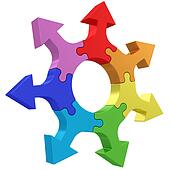 Colorful arrows joined into jigsaw puzzle wheel on white