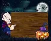 Halloween Dracula wooden sign