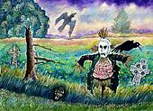 Halloween Field, Funny Scarecrow