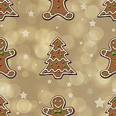 Gingerbread Cookie seamless Pattern