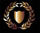 golden wreath and shield vector art