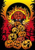 Halloween poster with hell pumpkins
