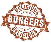 delicious burgers brown grunge stamp
