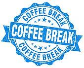 coffee break blue grunge stamp