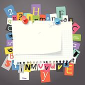 Blank paper stickers and color paper letters