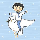 Boy flying with a dove