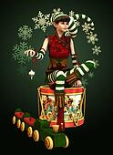 Santas Little Helper Katie, 3d CG