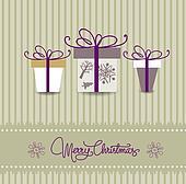 christmas card with multicolored gi
