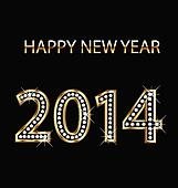 2014 Happy new year gold vector