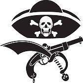 piracy symbol, hat with skull, gun