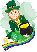 Irish Leprechaun scattering coins