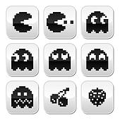 Pacman, ghosts, 8bit retro game
