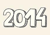New Year 2014 vector drawn sign