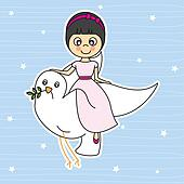 Girl flying with a dove