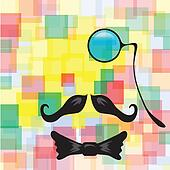 Vintage silhouette of monocle, mustaches and a bow tie