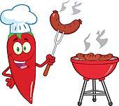 Cute Red Chili Pepper Chef