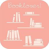 Vector booklovers sign with books