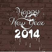 Happy new year 2014 on wall retro