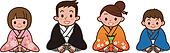Family wearing a kimono