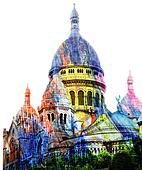 Basilica of the Sacred Heart of Motmartre in Paris stylized by artist palette
