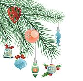 toys on Christmas tree vector