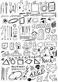 hand drawn, doodle, arrow, shapes