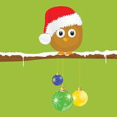 funny animal with christmas balls on the snow vector illustration