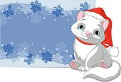 Christmas cat background