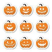 Halloween pumkin orange icons set