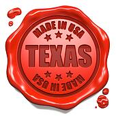 Made in Texas - Stamp on Red Wax Seal.