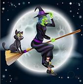 Witch flying on broom and night sky