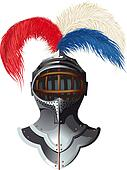 steel helmet with feathers