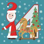 Santa Claus and horse New year 2014