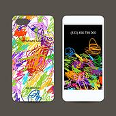 Mobile phone cover back and screen, children doodles design