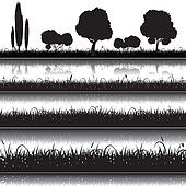 Set of  nature background with grass, bushes and trees silhouett